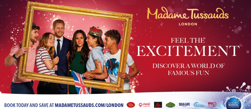 Madame Tussauds, London , Model students, billboard, poster, royal family